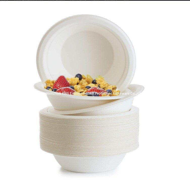 Compostable Biodegradable Disposable Sugarcane Bagasse Paper Bowls tableware,360ML(12OZ)